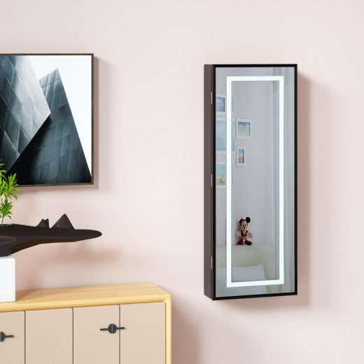 LED Jewellery Cabinet with Mirror Black