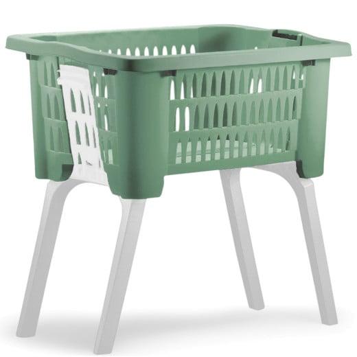 Wäschekorb mit ausklappbaren Beinen grün