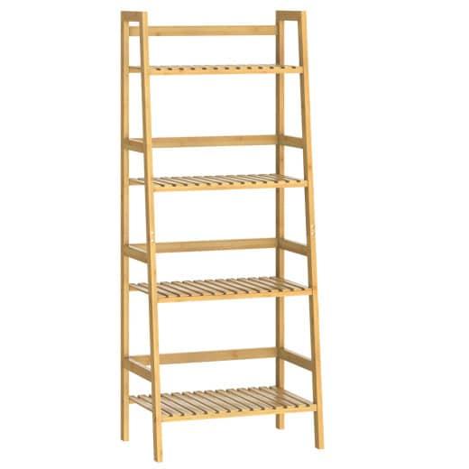 Freestanding Wooden Bathroom Shelf 48x19x13in