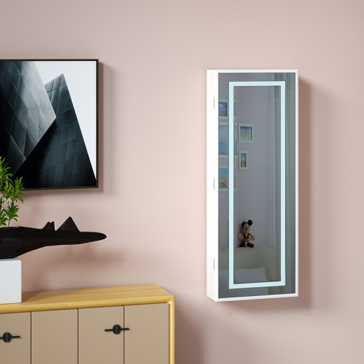 Mirror Jewellery Cabinet White LED