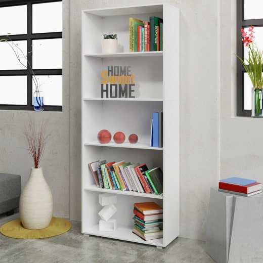 "Bookcase ""Vela"" in White with 5 Compartments"