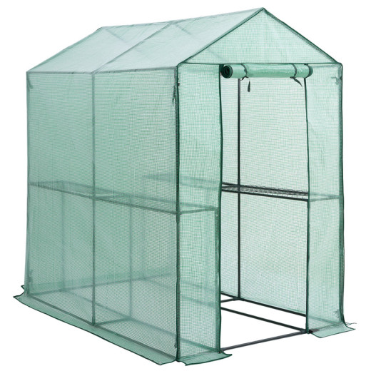 Greenhouse with PE cover and 2 tiers 6.2x6.1x3.9ft