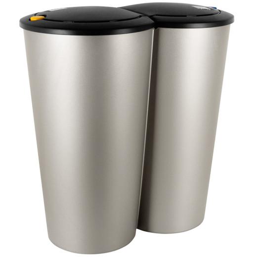 2-Compartment Dustbin Silver Plastic 2x25L