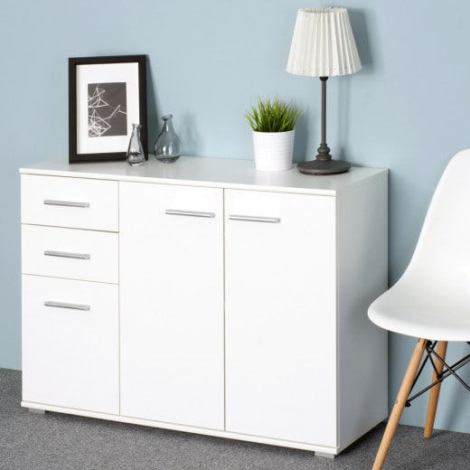 Sideboard Alba White 107x75x35cm with 3 Doors 2 Drawers