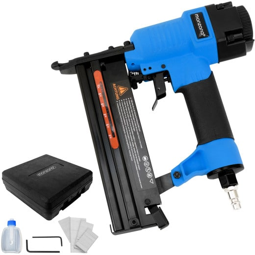 2in1 Air Compressed Nail Gun and Stapler incl. Case Nails Allen Key Oil