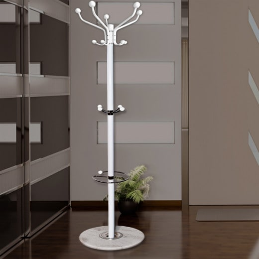 White Coat Stand with Marble Base