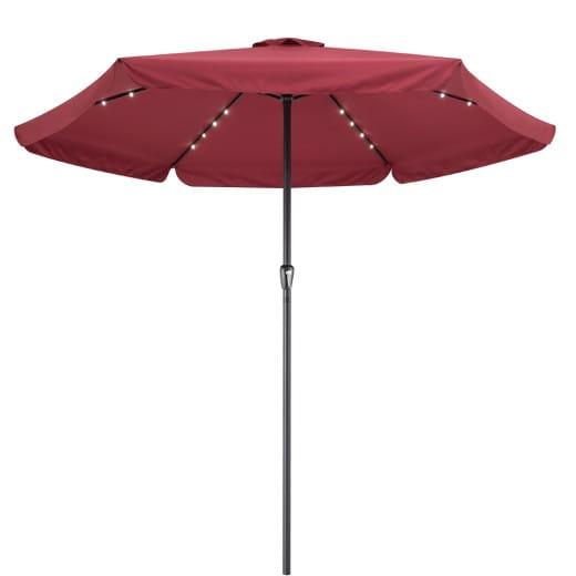 LED Solar Parasol Athen Red 330cm