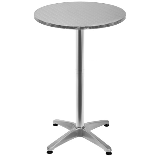 Height-Adjustable Aluminium High Table in Silver Foldable