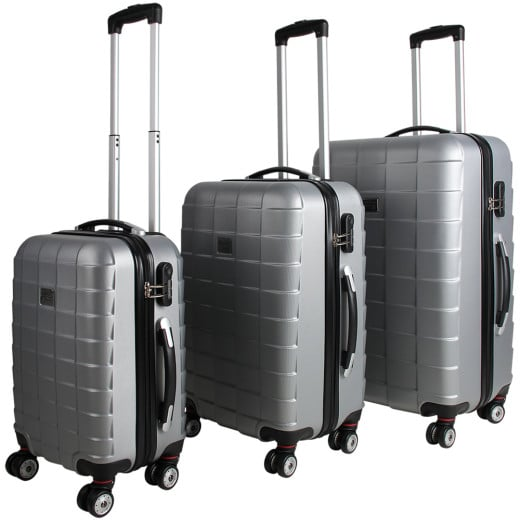 Hardshell Luggage 3 Pieces Silver M L XL