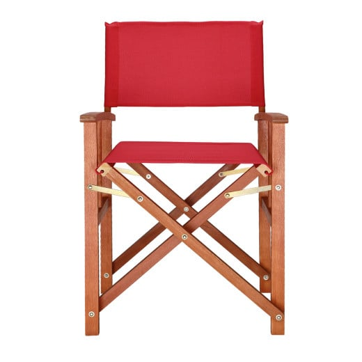 """Wooden Director's Chair """"Cannes"""" in Red made from Eucalyptus Wood"""