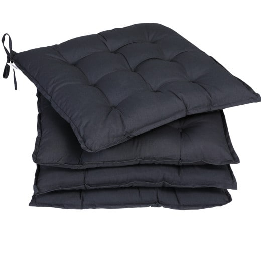 Detex 4x Seat Cushion Chair Pads Indoor Outdoor Memory Foam Elastic Anthracite