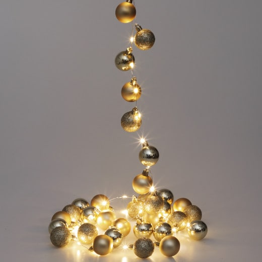LED String Lights 2m with gold Christmas Baubles