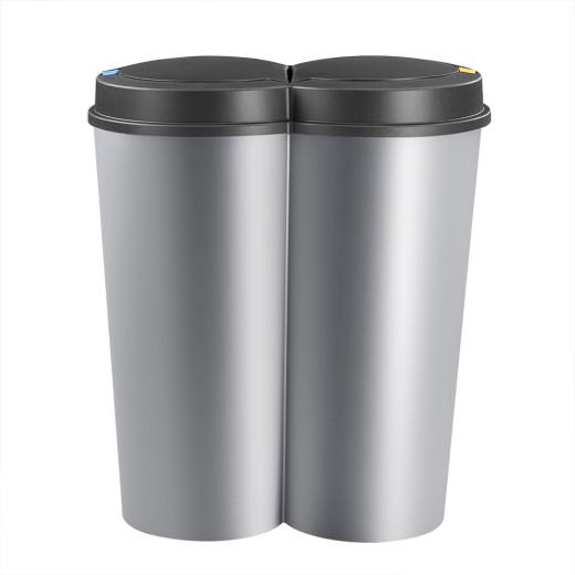 Double Dustbin Silver/Black Plastic 2x25L