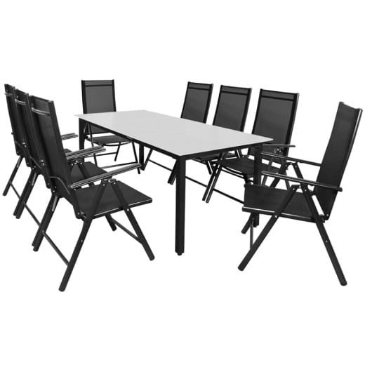 Garden Dining Set Bern 9 Pcs Anthracite Frosted Glass