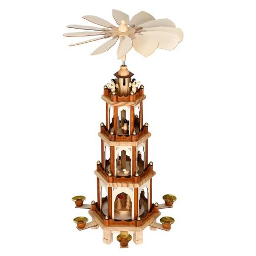 Weihnachtspyramide XL in klassischem Holzdesign