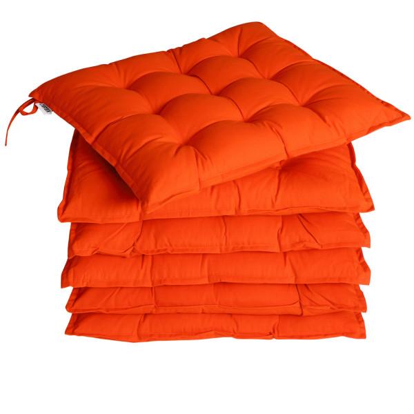 6x Garden Chair Cushion Cozy 55% Cotton Outdoor Patio Orange