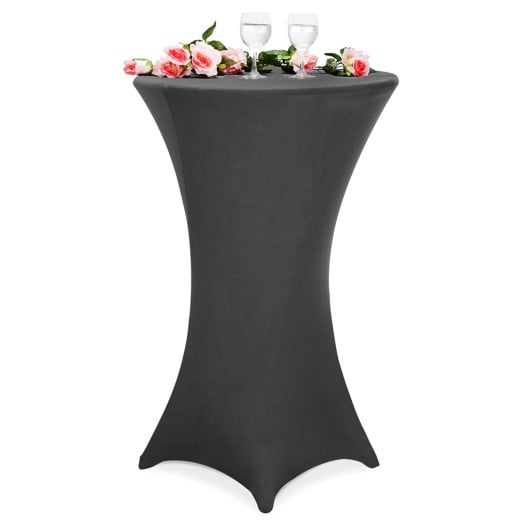 5x Fitted High Table Slip Cover Anthracite à~70 cm - Cloth Set SPANDEX - Wedding Anniversary Party Banquet