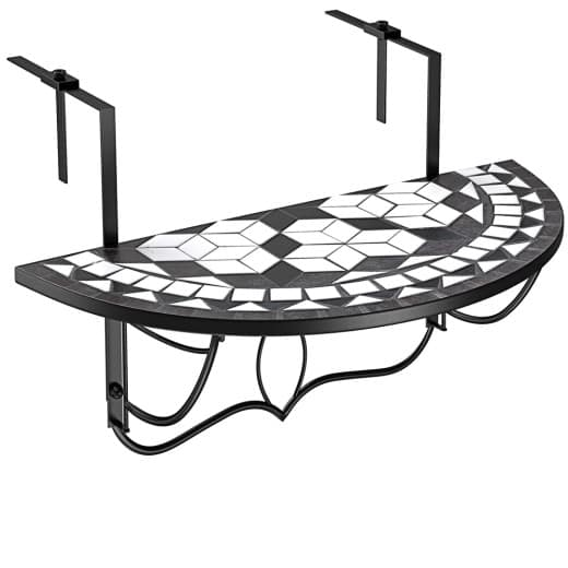 """Mosaic Balcony Hanging Table """"Oriental"""" in Black and White"""