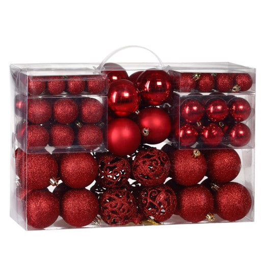 Christmas Baubles 100Pcs Red
