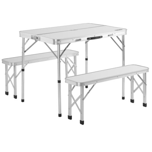 Aluminium Camping Table & 2 Folding Benches with Case Feature White