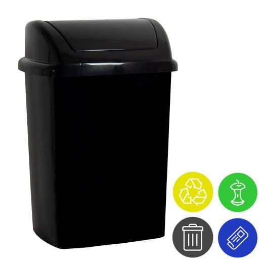 Mülleimer Schwarz Kunststoff 24L Schwingdeckel