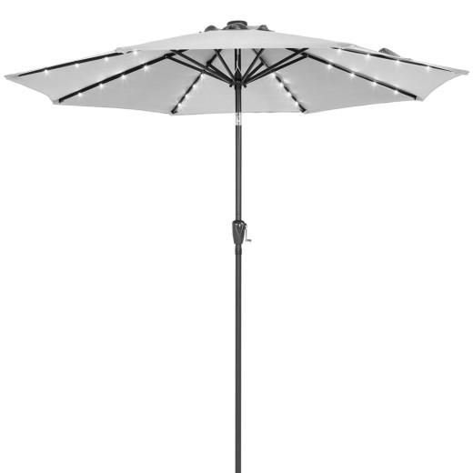 24 LED Solar Garden Parasol Sun Umbrella 2.7m - Grey