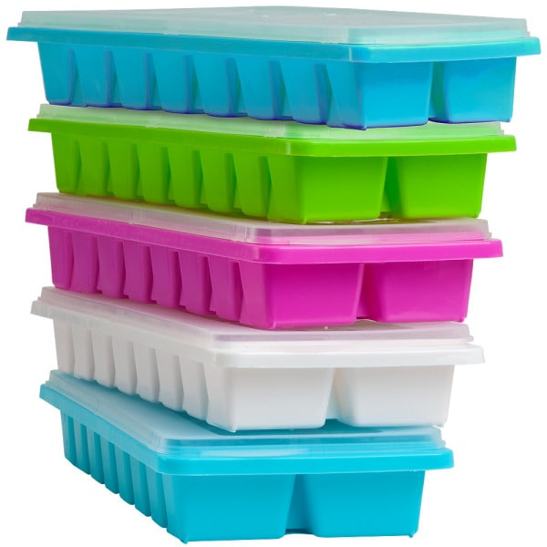 5x Eiswürfelform mit Deckel für je 16 Eiswüfel