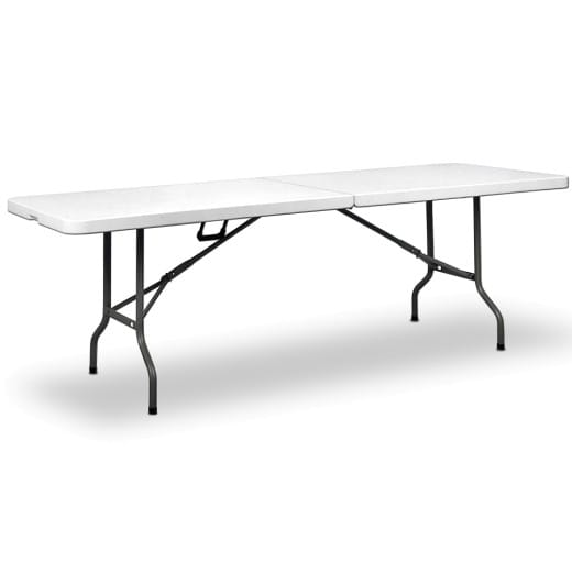 White Camping Table with Handles and Suitcase Function