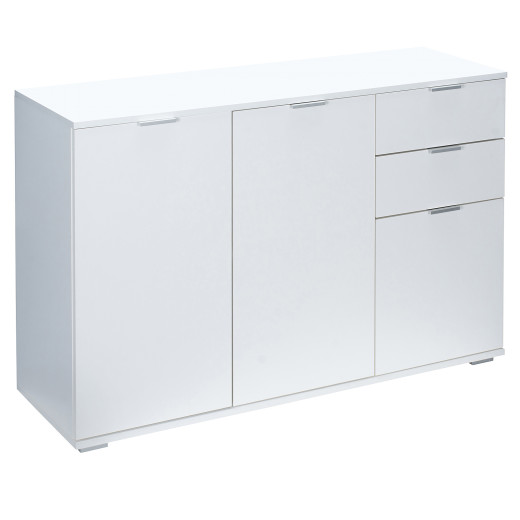 """Sideboard Cupboard """"Alba"""" in white with three doors and drawers"""