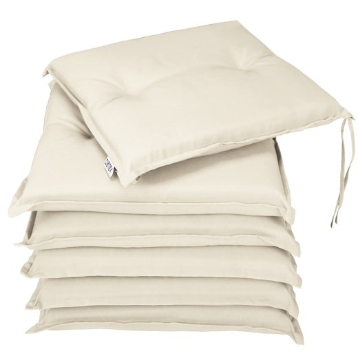 6 seat cushions for BOSTON furniture set - padded garden terrace cushions- Cream