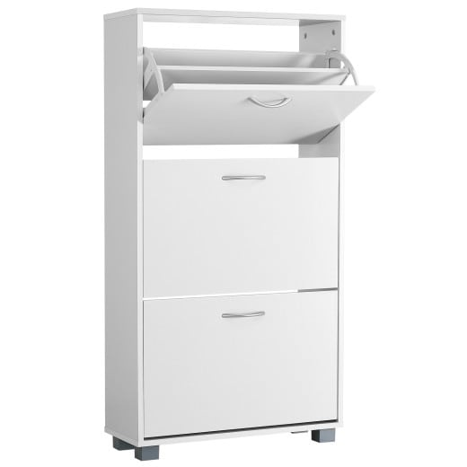 Shoe rack with 3 flip doors White