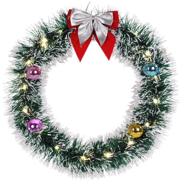 LED Christmas Wreath Silver 13in diameter